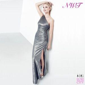 Metallic Foil One-Shoulder Embellished Side Gown